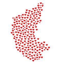 Heart mosaic map of karnataka state vector