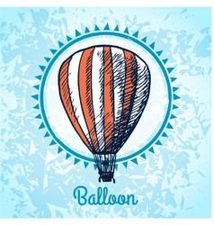 Hot air balloon poster sketch vector