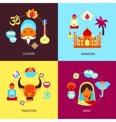India flat set vector image