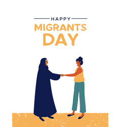International migrants day card of diverse women vector
