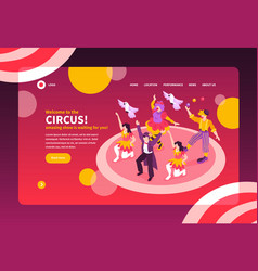 Isometric circus landing page vector