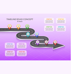 Isometric navigation map infographic 8 steps vector