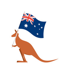 kangaroos and australian flag wallaby for vector image