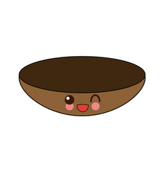 Kawaii bowl dishware food kitchen vector