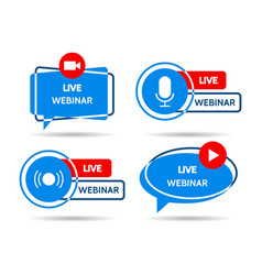 Live webinar logos vector
