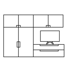 living room furniture icon outline style vector image