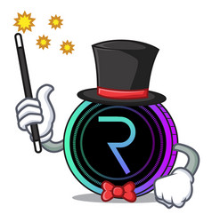 Magician request network coin mascot cartoon vector