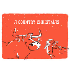 Merry country christmas card with bull and sheep vector
