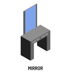 mirror and dressing table isolated isometric vector image