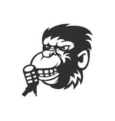 Monkey podcast logo cartoon character silhouette vector