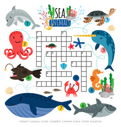 Ocean animals crosswords game for kids vector