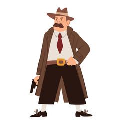 Old detective investigator wearing coat with gun vector