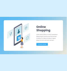 online shopping isometric landing page vector image