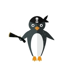 Penguin pirate animal character vector image