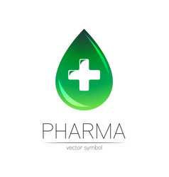 Pharmacy symbol green drop with cross vector