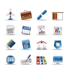 Realistic business and office icons vector