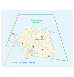 Road map italian island linosa vector