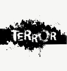 Scary lettering terror with abstract black spots vector
