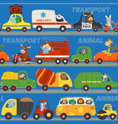 seamless pattern transports with animals on road vector image