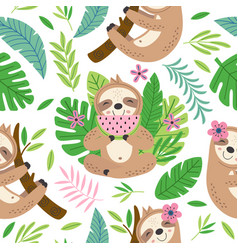 seamless pattern with funny sloth vector image