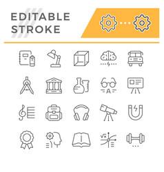 set editable stroke line icons education vector image