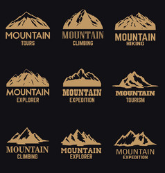 set mountain icons in golden style isolated on vector image