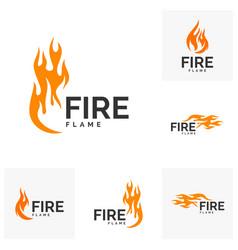 Set of fire flame logo design hot logo template vector