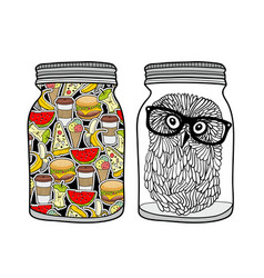 Set of jars with food vector