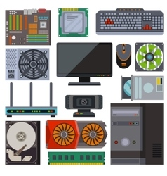 Set of various electronics devices computer parts vector