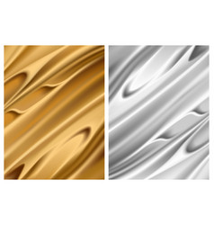 set silver and gold foil textures metallic vector image