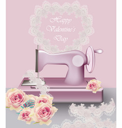 Sewing machine vintage decor retro provence vector