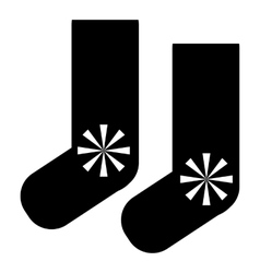 Socks with snowflake icon simple style vector