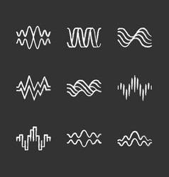 Sound waves chalk icons set music rhythm heart vector