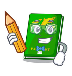 Student green passport in the cartoon shape vector