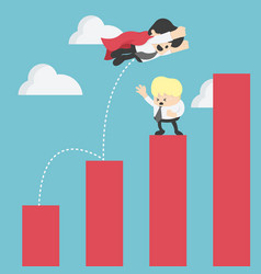 Super businessman in red jump bar chart business vector