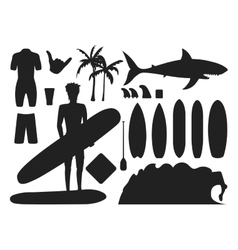 Surfing silhouette set vector