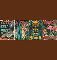 surfing vintage colorful posters set vector image
