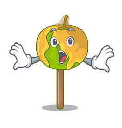 Surprised candy apple mascot cartoon vector