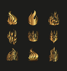 Symbols Gold Yellow Fire on Black Background vector image
