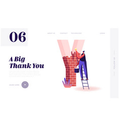 thank you word spelling website landing page vector image
