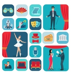 Theater Icons Flat Set vector image