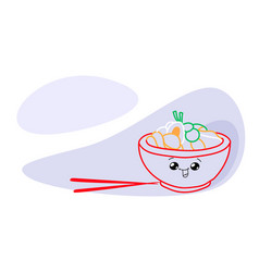 traditional asian meal noodles happy kawaii plate vector image