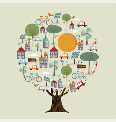 tree made of eco friendly sustainable city vector image
