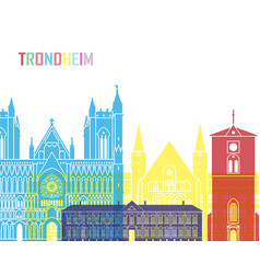 Trondheim skyline pop vector