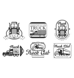 truck club retro labels set heavy transportation vector image