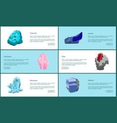 Turquoise lazurite quartz ruby rhinestone sapphire vector