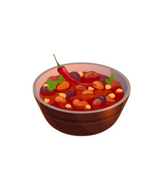 Vegetable soup with beans and tomato sauce vector