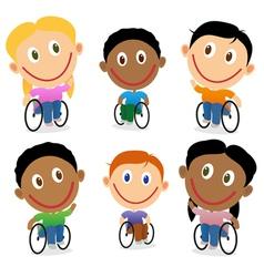 Wheelchair children character pack vector image