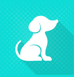 white cute dog flat icon vector image