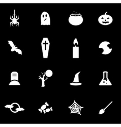white halloween icon set vector image